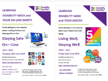 Events at Disability Equality NW in Learning Disability Week