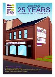 """Graphical style colour image of DENWs front of the building to celebrate DENWs 25th birthday - created by David Robinson with """"celebrating 25 years title at the top."""