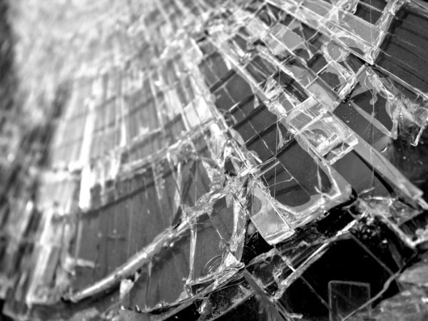 Close up of smashed glass in a car